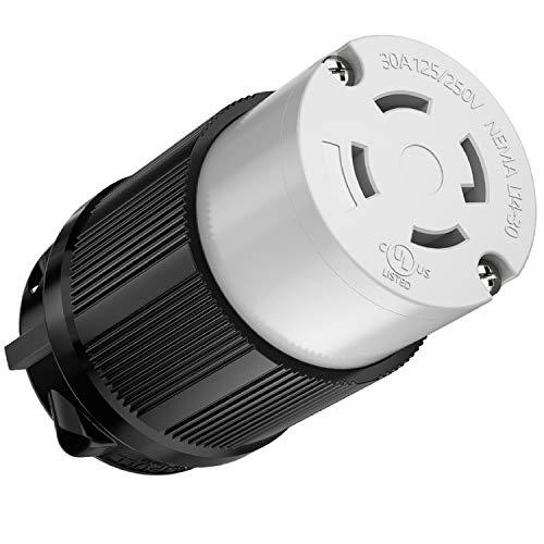 Kohree NEMA L14-30R Female Plug, 30 Amp 4 Prong 125/250V Twist Locking Generator Plug Connector, L14-30 Female Receptacle Industrial Grade, UL Listed