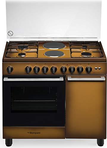 Cucina a gas con forno elettrico ventilato, N° 4 Fuochi + 2 piastre elettriche, 90x60 cm
