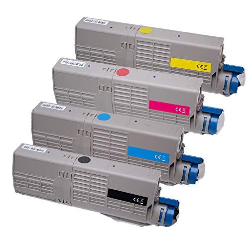 Set ABC kompatible Toner als Ersatz für Oki 46508708 Black Oki 46508707 Cyan Oki 46508706 Magenta Oki 46508705 Yellow für Oki C532DN C542DN MC563DN MC573DN