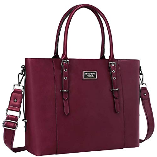 MOSISO Laptop Tote Bag (Up to 15.6 Inch), Water Resistant PU Leather Business Work Office Shoulder Briefcase Handbag Compatible with MacBook&Notebook Large Capacity with Padded Compartment, Wine Red