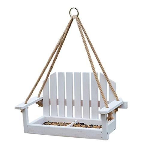 Estación de comedero colgante para pájaros de madera, mesa de jardín, banco de columpio para colgar al aire libre
