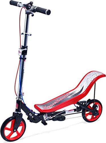 Space Scooter Premium X590, Rot Tretroller mit Schwungrad, per Luftdruckdämpfer Angetriebener Roller mit Bremsen, Luftfederung, Einfache Faltbarkeit, für Kinder ab 8 Jahren, Rot/Schwarz