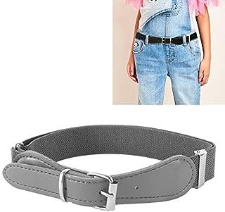 JIANGNIAU Belt 2 PCS Kids Polyester + PU Leather Square Pin Buckle Adjustable Elastic Belt, Length:65cm(Black) (Color : Grey)