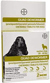Bayer Quad Dewormer for Medium Dogs (2660 lbs) 2 Chewable Tablets