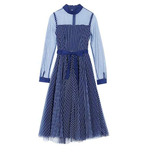 BINGQZ Cocktail Jurken Lente lange blauwe stand kraag slanke taille een woord blauw en wit gestreepte perspectief mesh jurk