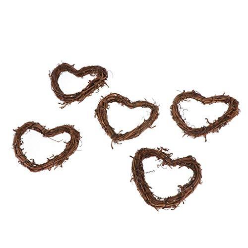 Bonarty Natural Rattan Vine Ring Grapevine Wreath Vine Branch Wreath Decorative Wooden Twig for Craft, Decor, Door, House, Holiday, Xmas, Wedding - 5pcs Love Heart