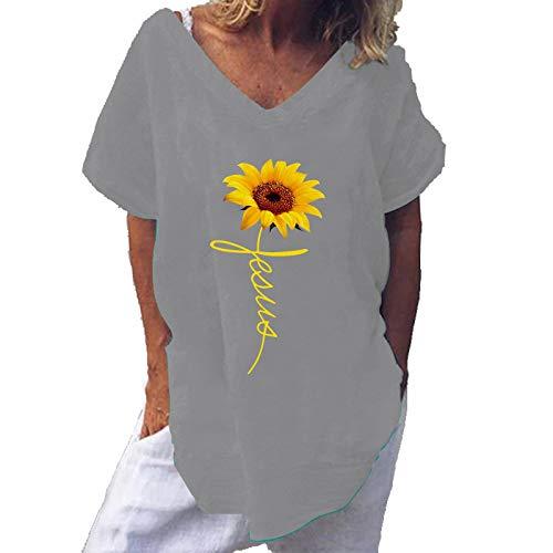 YANFANG Camiseta de Cuello Redondo Suelta de Manga Corta con Estampado de Girasol de Moda para Mujer,túnica para Mujer, Ajuste Delgado, Informal, con puños elásticos,, 5XL,Gray