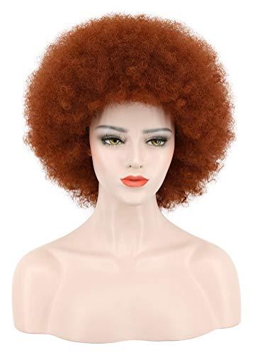 Karlery Men Women Afro Short Curly Red Brown Rocker Wig California Halloween Cosplay Wig Anime Costume Party Wig