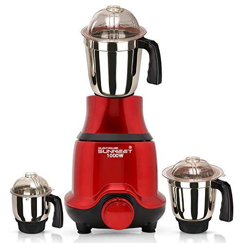 SilentPowerSunmeet BUTRSA21 1000-Watt Mixer Grinder with 3 Jars (1 Wet Jar, 1 Dry Jar and 1 Chutney Jar) - Red.Make in India