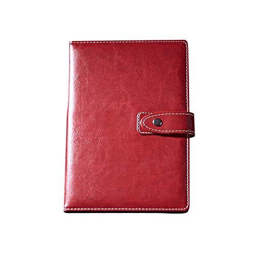 Cuaderno de notas con tapa de piel tamaño A5 con cierre magnético, color rojo vino