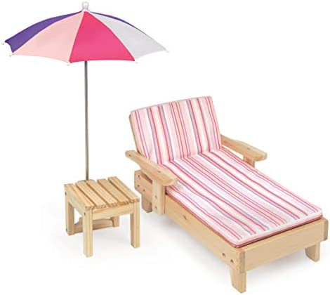 Badger Basket Doll Beach Lounger with Table and Umbrella fits American Girl dolls Pink Multi product image