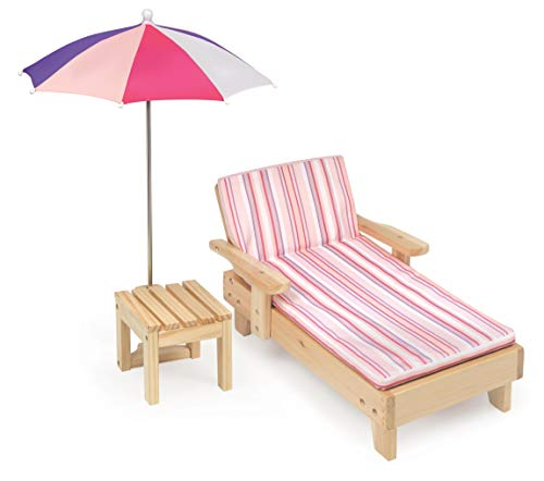 Badger Basket Doll Beach Lounger with Table and Umbrella (Fits American Girl Dolls)