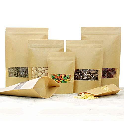 CozofLuv 100 Stück Kleine Braune Papier Beutel Mit Sichtfenster für die verpackung von Kaffee Tee Lebensmittel Zipper Pouches Bags (Multi-Größe)