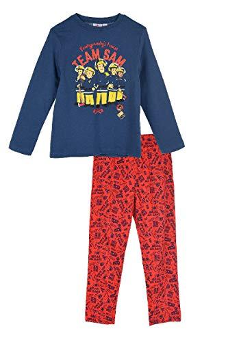 Feuerwehrmann-Sam Jungen Schlafanzug Pyjama Feuerwehrauto (Blau-Rot, 104)