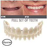 Denture Teeth Top Cosmetic,Upper Lower Shade Dental,Temporary Dental Prosthesis,for Bad Teeth Professional Smile Veneers,20pcs,Medium