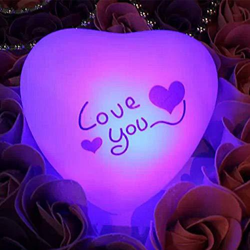 XHSHLID accu met kleurverandering, voor slaapkamer, harten en decoratie voor meisjes, bar, desktop, café, nachtlampje, cadeau voor Valentijnsdag
