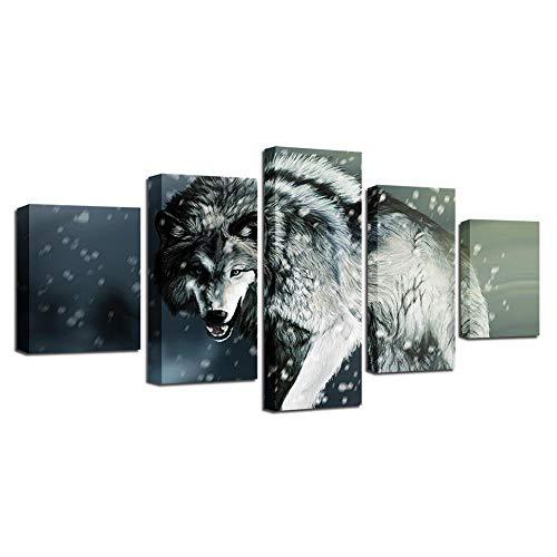 YUANSAHN canvasdruk canvas schilderij Hd Prints Home Decor nachtkastje achtergrond 5 stuks muurkunst dier wolf foto's Artwork Classic Poster