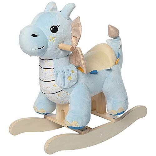 Labebe Cavallo a dondolo per bambini, Rocker per bambini, Cavallo a dondolo in legno Pterodactylus blu, Pelle