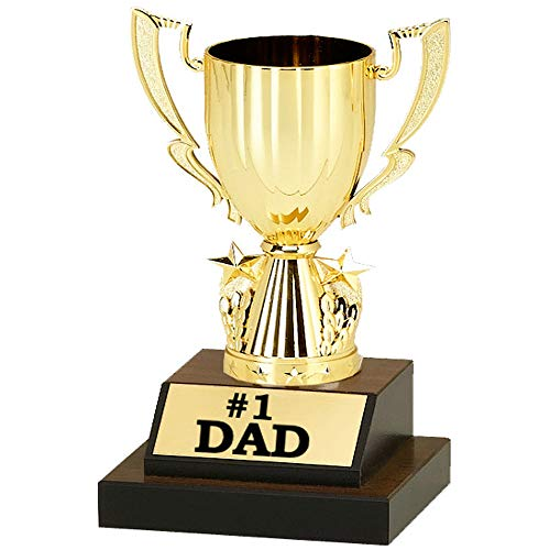 Number 1 Dad Trophy - Pre-Personalized Trophy - 8 1/2 inches Tall