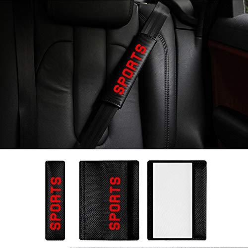 Auto Gurtpolster Gurtschoner Carbon Faser für C-MAX Ecosport Kuga Edge Mondeo mit Rot Name Sports Aufkleber (Pack von 2)