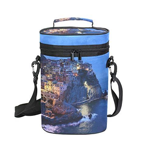 Montoj Bolsa enfriadora de vino aislada para viaje Italia Cinque Terre bolsa...