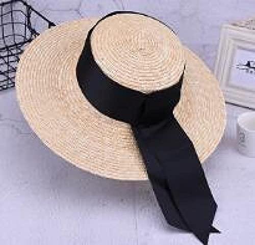 Sombreros De Paja Gorra De Mujer Gorras Planas De Paja Hechas A Mano Unisex Sombrero para El Sol De ala Ancha Grande para Mujer con Gorras De Playa con Lazo-Brim_12Cm
