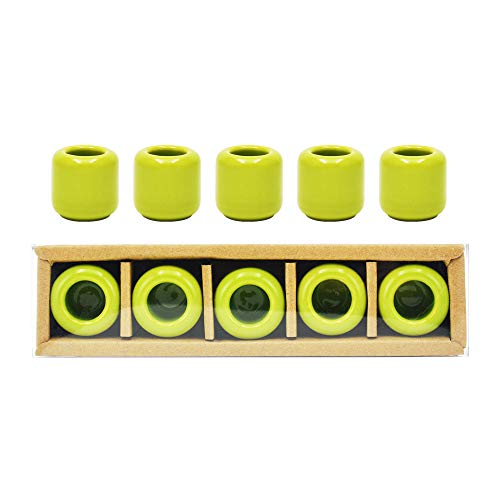 5 pcs Ceramic Chime Candle Holder Set, Great for Casting Chimes, Rituals, Spells, Vigil, Witchcraft, Wiccan Supplies & More (Green)