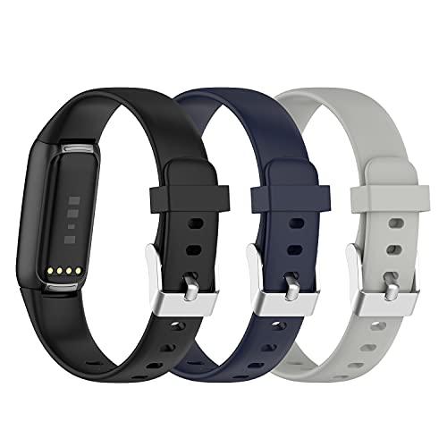 (3 unidades) Chofit Correas compatibles con Fitbit Luxe Correa, Clásico Reemplazo Suave Silicona Deportiva Pulsera Colorida Banda de Brazo para Luxe Actividad Tracker (Grande, Negro+Azul+Gris)