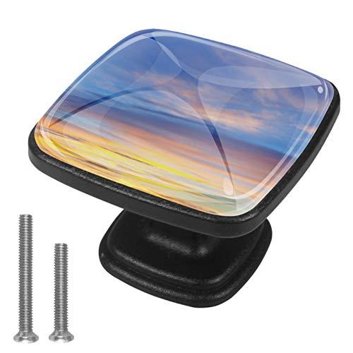 4 tiradores redondos de cristal transparente para cajones con tornillos para cocina, aparador, armario, baño, armario, fondo de cielo