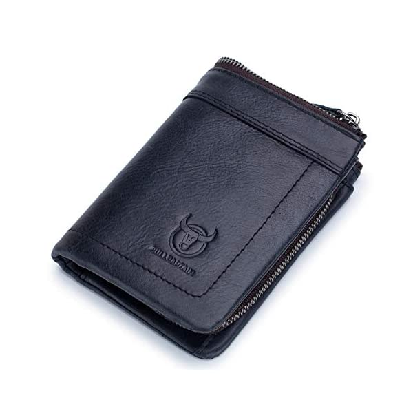 BULLCAPTAIN Rfid Antimagnetic Genuine Leather Mens Wallet with Detachable Coin Purse Bifold Wallet for Credit Cards QB-051 1