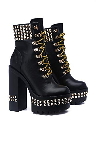 Cape Robbin First Class Studded Platform Faux Leather Ankle Boots with Chunky Block Heels for Women - Black Size 9