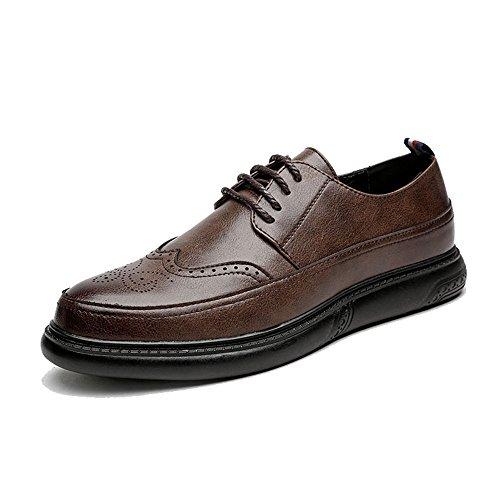 Sunny&Baby Homme d'affaires Oxford Casual Classic Chaussures à Brogues Respirantes à Bout Pointu de Couleur Unie Résistant à l'abrasion (Color : Marron, Taille : 44 EU)