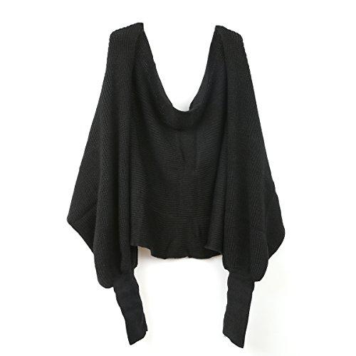 BESTOYARD Winter Warm Gestrickte Schal mit Ärmeln, Mode Poncho Schal mit Ärmel für Damen (schwarz)