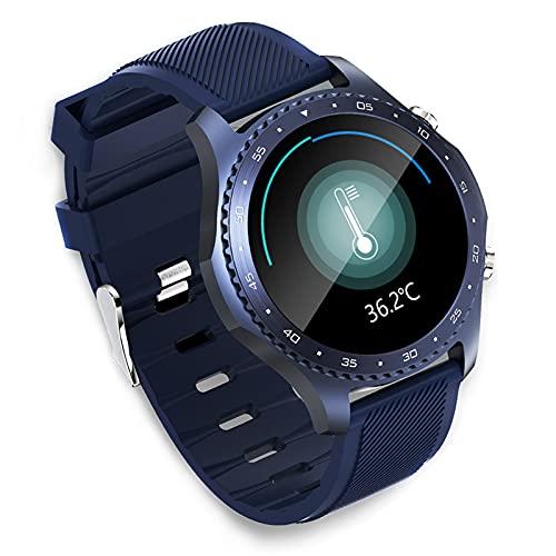 HQPCAHL Smartwatch Reloj para Hombre Android iOS con Llamada Bluetooth Monitor de Temperatura Frecuencia Cardíaca Presión Arterial Spo2 Sueño Control de música, Monitores de Actividad,Azul