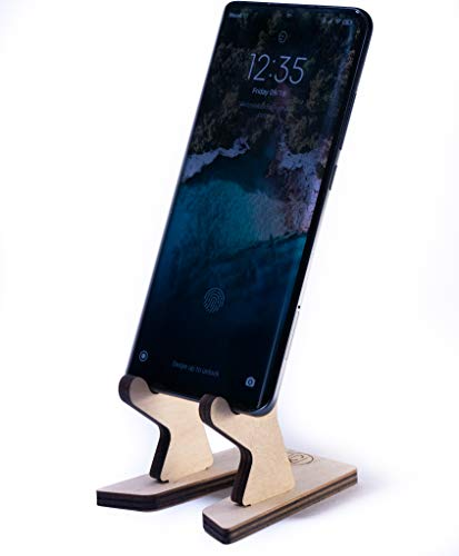 WoodenCrew Mini Foldable and Flip Cell Phone Tablet Stand, Universal Wooden Charging Cool Desk Phone Dock, Natural Wood Office Smart Cute Phone Holder, Mini Rustic Phone 8 10 11 Max Stand w013