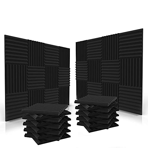 Siless 52 Pack Acoustic Panels 1 X 12 X 12 Inches - Acoustic Foam - Studio Foam Wedges - High Density Panels - Soundproof Wedges - Charcoal