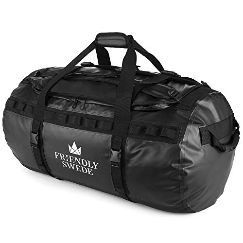 The Friendly Swede Water-Resistant Combined Duffle Bag and Backpack - 60/90L (Black 90L)