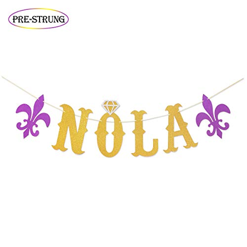 NOLA Gold Glitter Banner for New Orleans Bachelorette Party   Mardi Gras Theme Bachelorette Banner   Nola Bachelorette Decorations