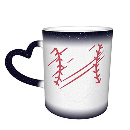 XCNGG Taza de café de la taza de la taza del cielo estrellado de la pendiente de la taza de cerámica Red Baseball Heart Printed Ceramic Coffee Tea Mug Water Tea Drinks Hot & Cold Cup