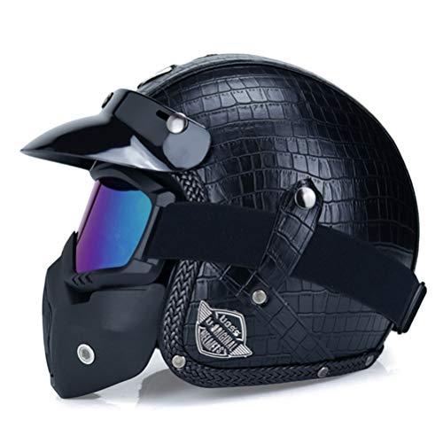 3/4 Open Face Motorradhelm mit Sonnenblende PU Leder Open Face 3/4 Chopper Fahrradhelm DOT