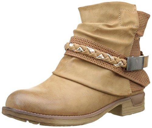 Angkorly - Zapatillas Moda Botines Cavalier Bimaterial Mujer Zapato Acolchado Nodo Camuflaje Talón Tacón Ancho 3 CM - Camel F1059 T 36