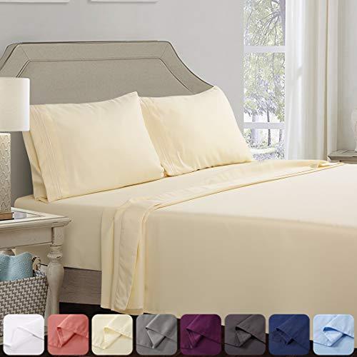 ABAKAN Bed Sheet Set 4 Piece Super Soft Brushed Microfiber 1800 Thread Count Hotel Luxurious Egyptian Sheet Breathable Fade Resistant Deep Pocket Bedding Sheet Set