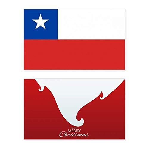 Chile Nationalflagge Südamerika Land Urlaub Merry Christmas Karte Weihnachten Vintage Nachricht