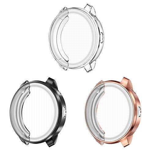 FINTIE Protector de Pantalla [3 Piezas] Compatible con Garmin Vivoactive 3 Music Smartwatch - 20mm Funda de TPU Blanda Cubierta Protectora A Prueba de Choques, Negro/Transparente/Oro Rosa