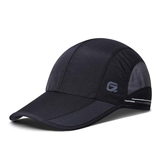 GADIEMKENSD Quick Dry Sports Hat Lightweight Breathable Soft Outdoor Running Cap Baseball Caps for Men, 55-60cm, Schwarz