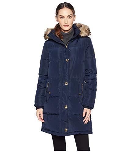 Michael Kors Womens Button Front Down Coat Faux Fur Trim Hood