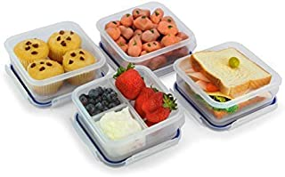 Popit! Square Food Container Meal Prep Set 4 x 2.4 Cup Containers + 3 Divisions Included, BPA Free, FDA Approved, 100% Leak Proof, Microwave, Freezer, Dishwasher Safe, by Popit!