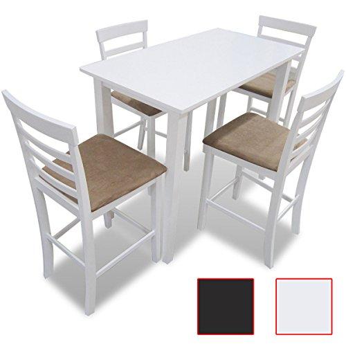 SSITG Houten eettafelset zitgroep eettafel barkruk stoel wit