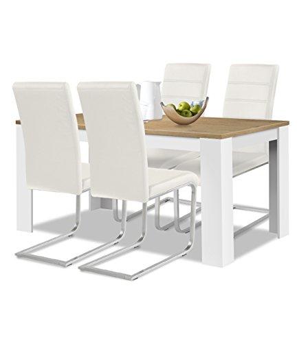 agionda® Esstisch Stuhlset : 1 x Esstisch Toledo 140 x 90 Wildeiche/Weiss 4 Freischwinger Kunstleder PU weiß