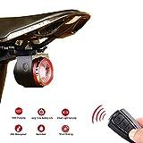 XIAOKOA Fanali Posteriori per Biciclette,Fanale Posteriore Allarme Intelligente,USB Fanali Posteriori di Ricarica,Fanale Posteriore Impermeabile,con Telecomando Senza Fili
